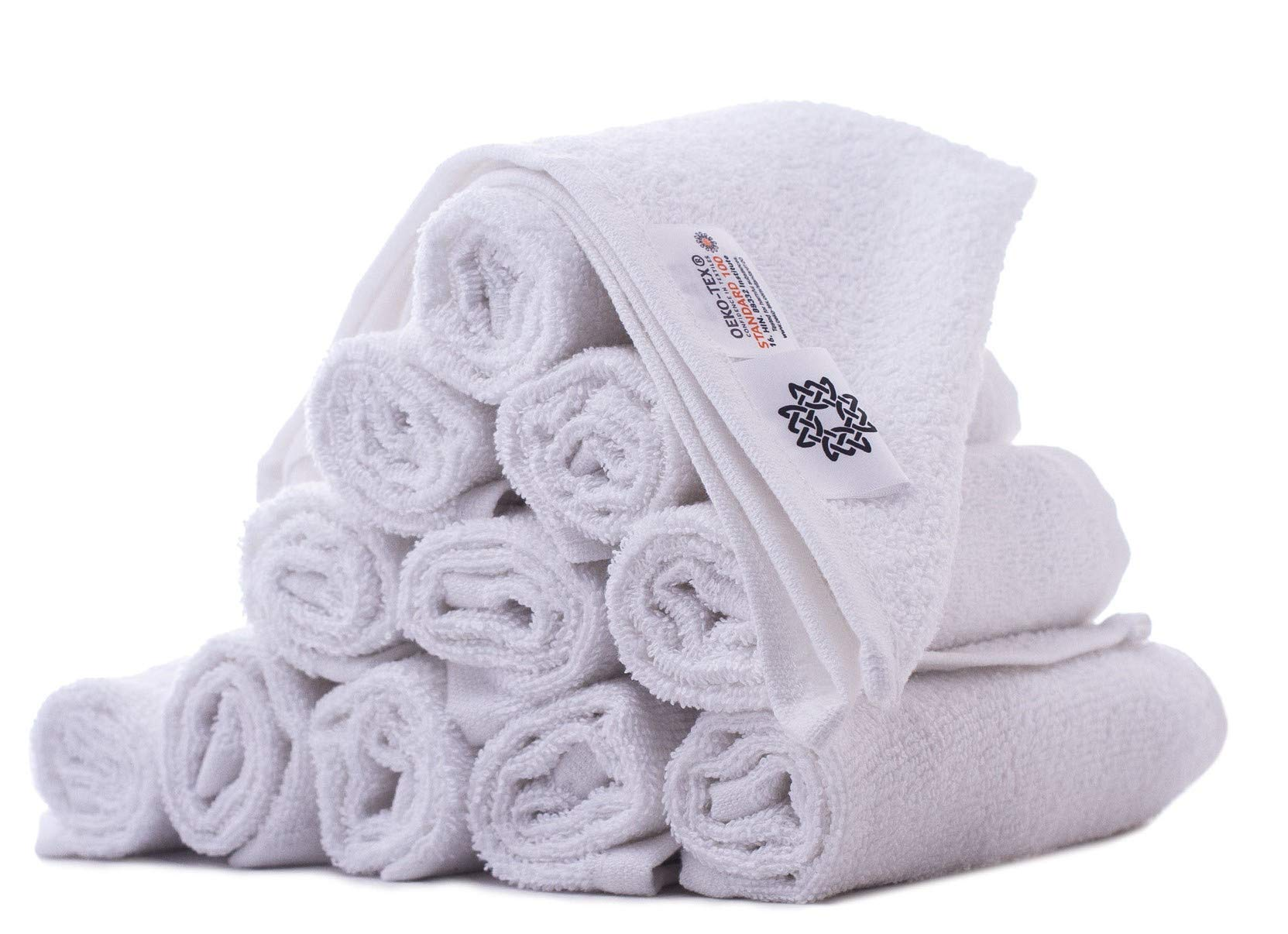 White Spindle 100% Cotton Face Towel Washcloth Set (12 Piece Set) Soft As Cloud, Absorbent, Thick, Spa Towel, Hotel Towel, Face Towel Set 13x13 inch