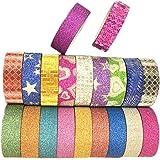 Laat 20rollos Sparkle Glitter cinta escuela oficina Scrapbooking adhesivas Washi Rainbow–Arte Artesanía cinta–DIY de vinilo decoración