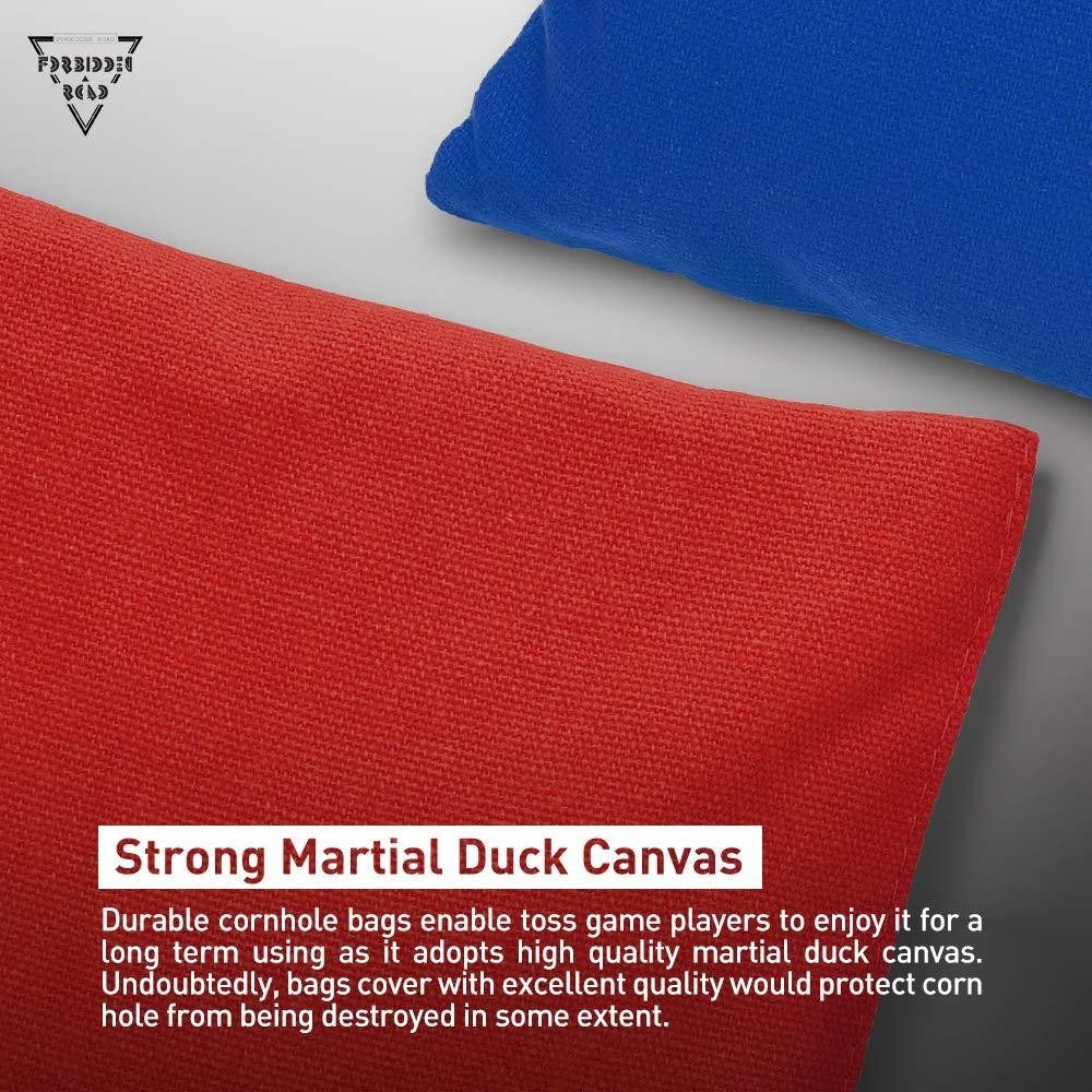 FORBIDDEN ROAD Cornhole Bean Bags Bag Pack of 8 per Tossing Core Hole Giochi con Anatra Canvas Materiale della Copertura e plastica PP Pellet allint Rosso Blu