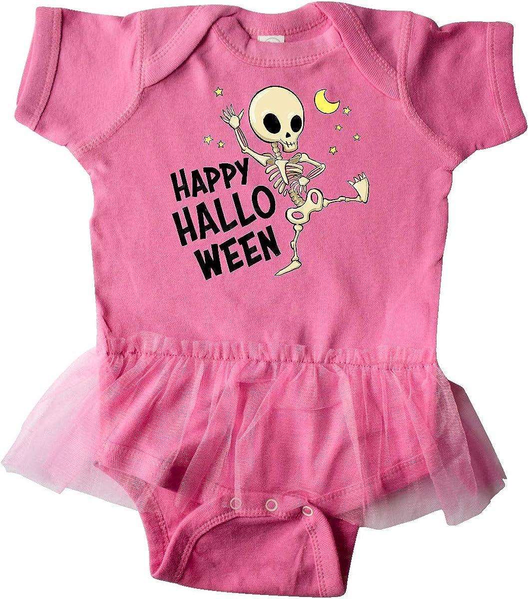 inktastic Happy Halloween with Dancing Skeleton Infant Tutu Bodysuit