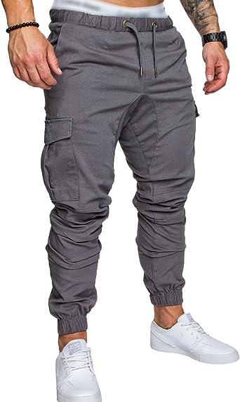 SOMTHRON Hombre Cinturón de cintura elástico Pantalones de chándal de algodón largo Jogging Pantalones de carga deportiva de talla grande Pantalones cortos con bolsillos Pantalones: Amazon.es: Ropa y accesorios