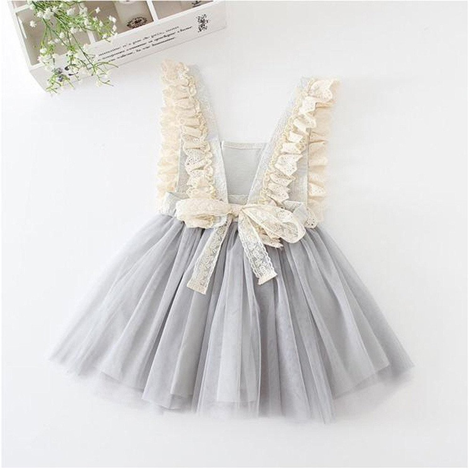 LOliSWan Little Girls Fairy Lace Princess Dress Ruffles Ballerina Tulle Tutu Toddlers Dress Up Outfits For Wedding Party (Gray, 3T) by LOliSWan (Image #4)