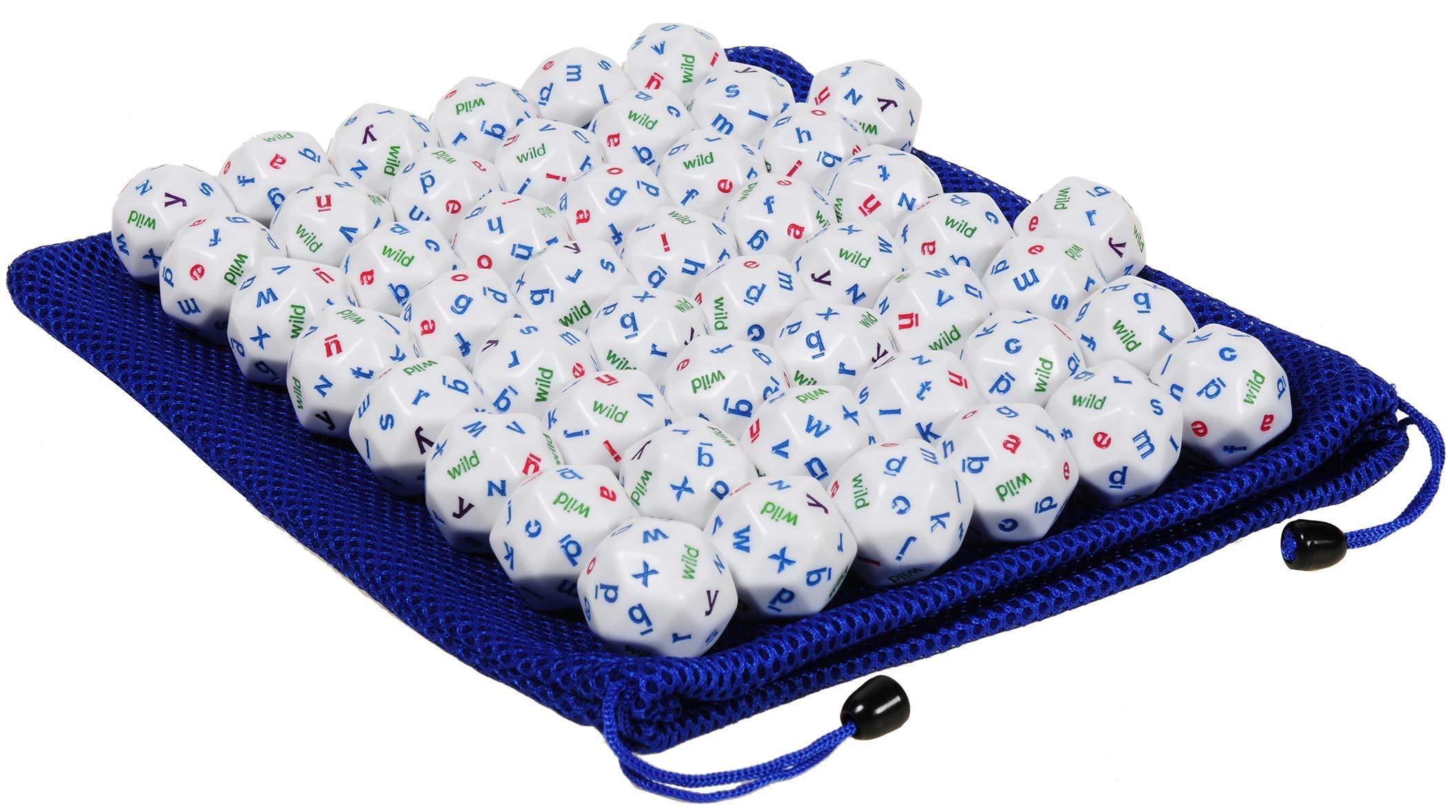 Alphabet Jumbo Dice, 30-Sided, Teacher Pack Set of 50 Dice || Bonus Blue Nylon Drawstring Carry Bag