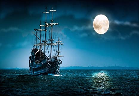 7 X 5 Fotografia Sfondo Sfondo Notte Sul Mare Grande Luna Bianco