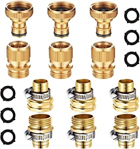 AINEED Hose Repair Kit, 3 Sets Solid Brass Garden Hose Quick Connect Male to Female Connectors, 3 Sets 3/4 Inch Brass Garden Hose Repair Connector with 6 Pieces Stainless Steel Clamps