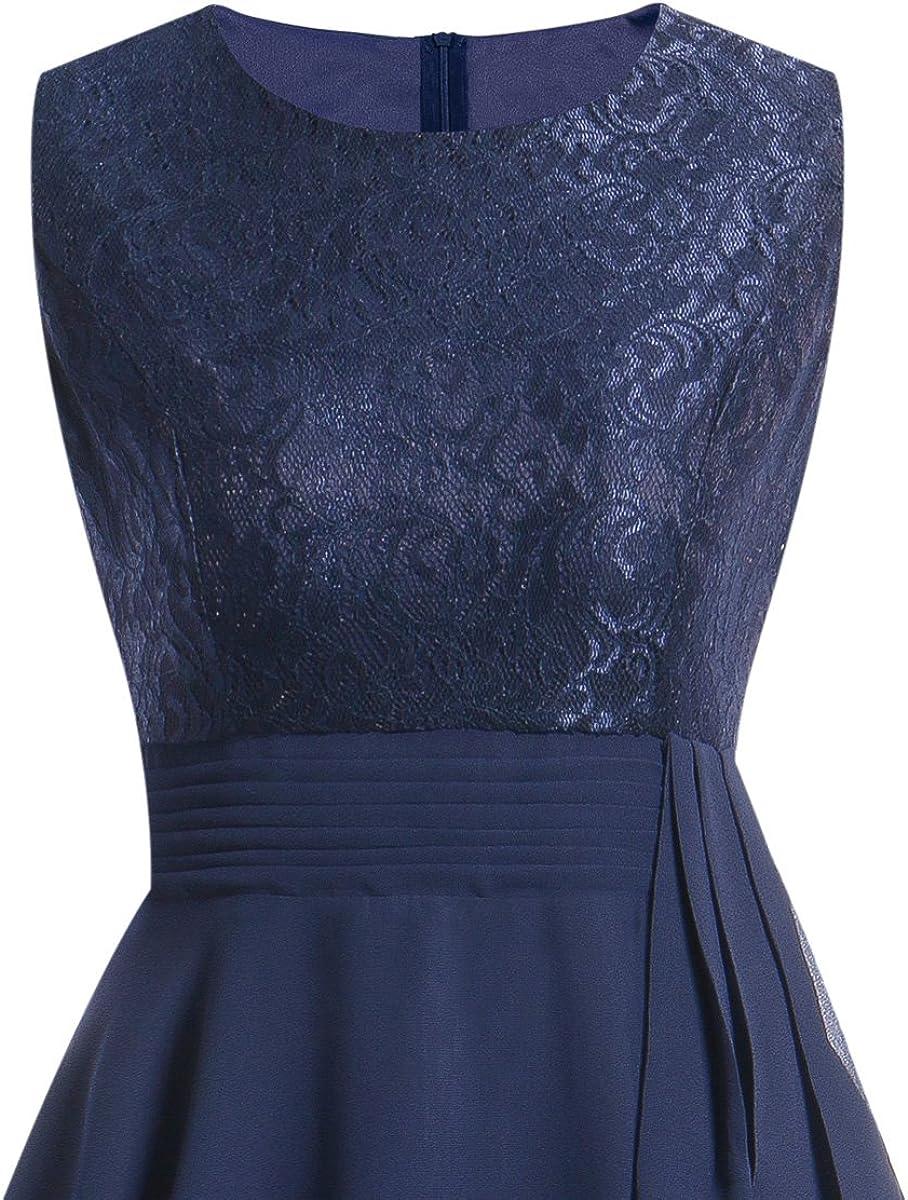LA ORCHID Laorchid Womens Vintage Lace Dresses Sleeveless Chiffon Dress Cocktail Wedding Business