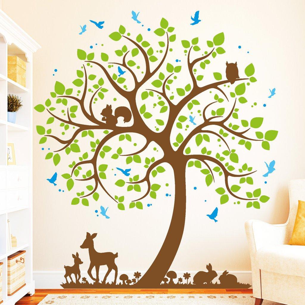 """BITTE TEILEN SIE UNS IHRE WUNSCHFARBEN IM ANSCHLUSS AN DIE BESTELLUNG PER NACHRICHT MIT!! 4farbig -Wandtattoo // 54 Farben // 4 Gr/ö/ßen // // 190 cm hoch H/äschen und Rehkitze auf einer Wiese/"""" Wandtattoo Loft /"""" Baum mit V/ögel"""