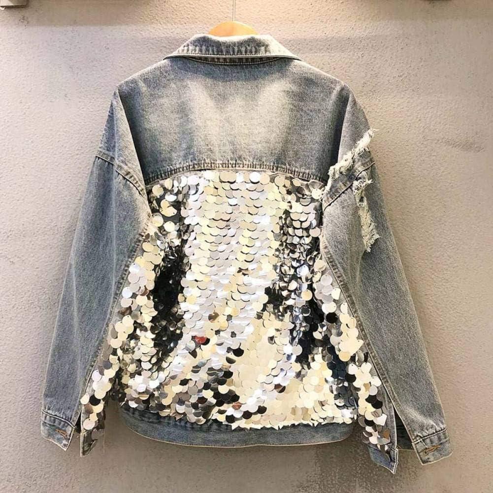 NSWTKL Veste en Jean Femmes Casual Denim Sequin Vestes De