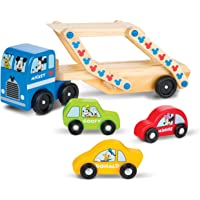 Melissa & Doug Mickey Mouse Clubhouse Car Carrier Truck and Cars Wooden Toy Set with 1 Truck and 3 Cars