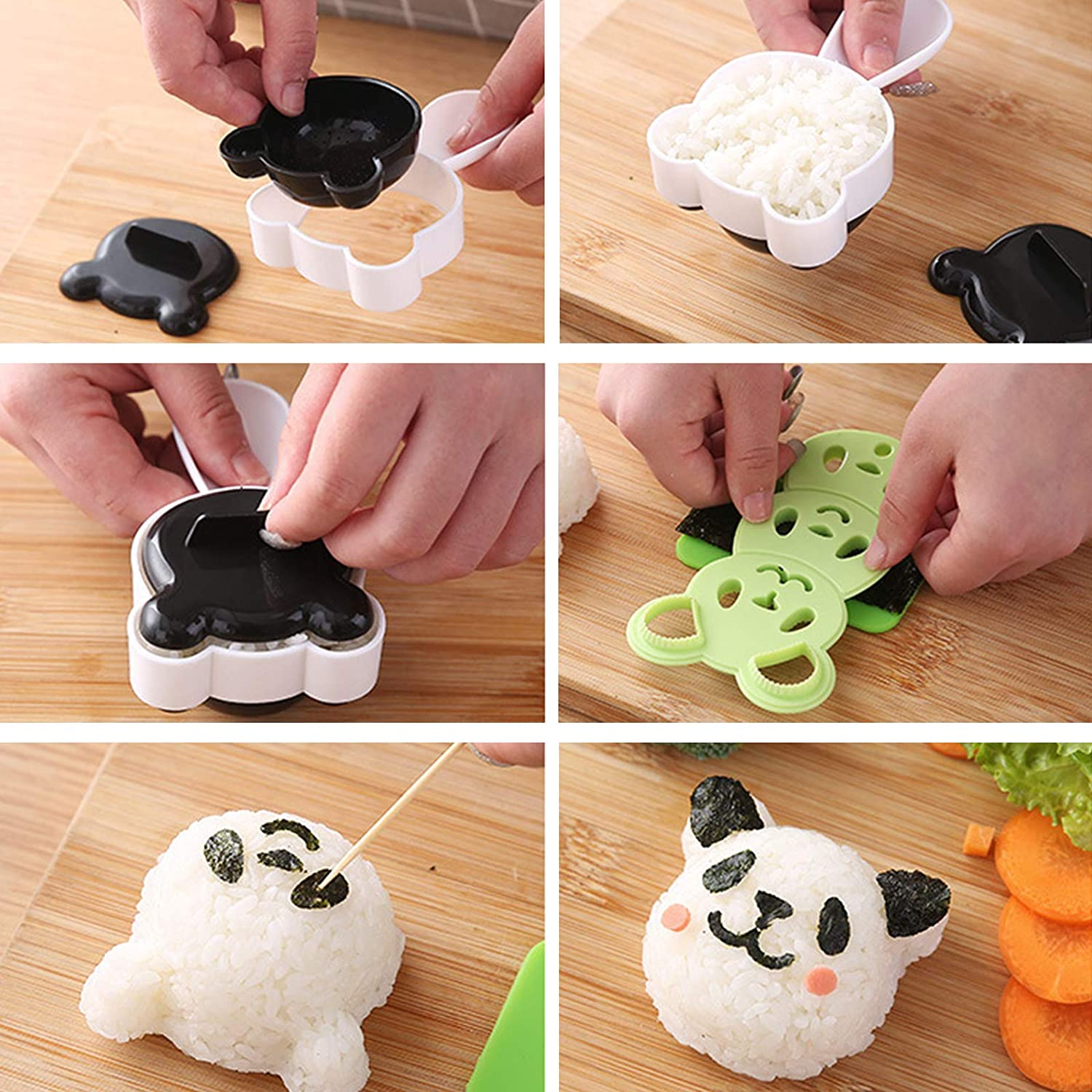 Camping Etc Home for Sushi Restaurants Office Panda Rice Ball Mold Sushi Shaper Kit Rice Ball Bento Presses Mold Sushi Cooking Practical Tool Safe Healthy Non-Stick Surface Easy to Clean