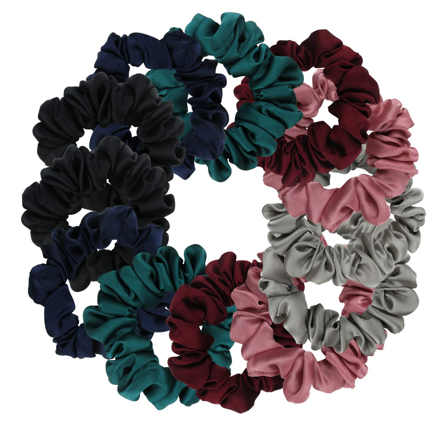 Satin Scrunchies, BETITETO Set of 12 Soft Ponytail Holder Bobbles Hair Scrunchy Vintage Hair Bands Ties for Women Girls
