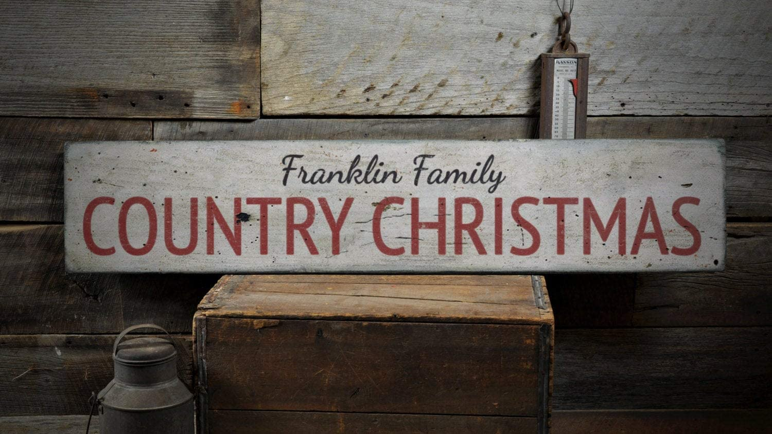 Country Christmas Wood Sign, Custom Family Last Name Home Holiday Farmhouse Gift Home Decor - Rustic Hand Made Vintage Wooden Sign Home Decor,Produced in The U.S.
