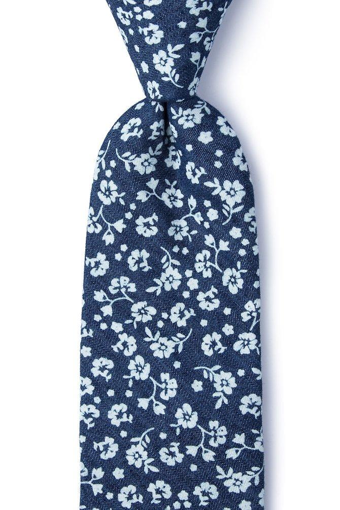 Bluebell Dark Blue Cotton Extra Long Tie