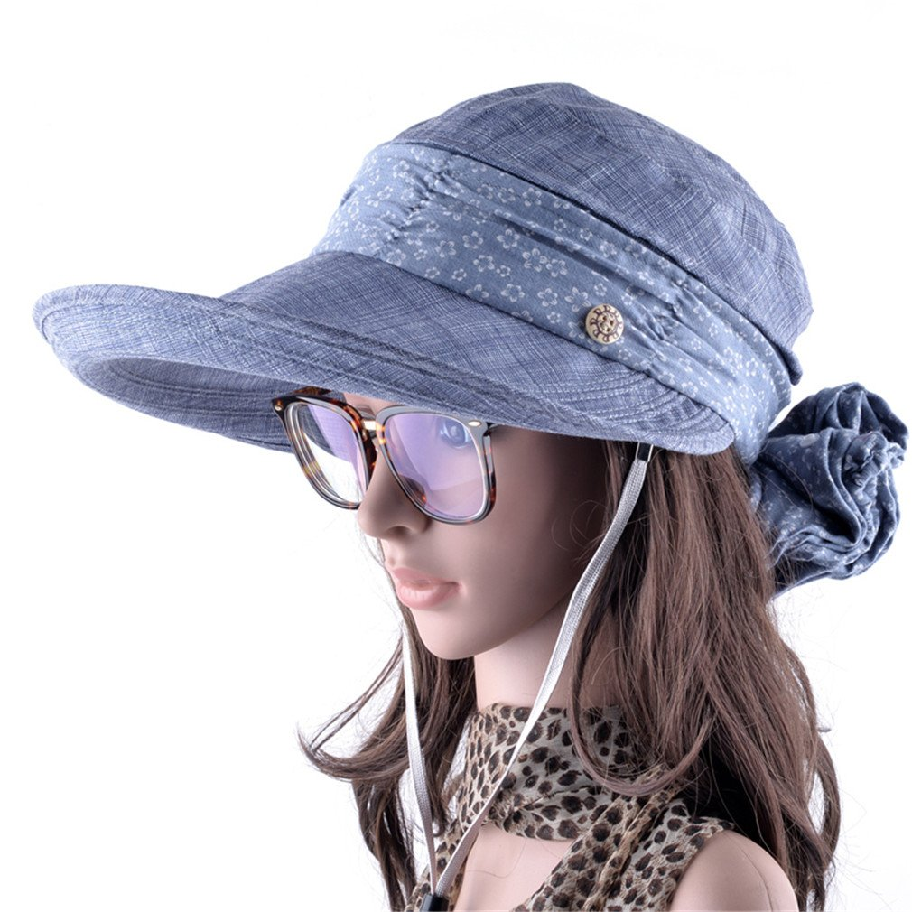 d77de5e2ab1 Amazon.com  Sun Hat with Face Neck Protection for Women Wide Brim Summer  Visor Caps Outdoors Anti-Uv Blue  Sports   Outdoors