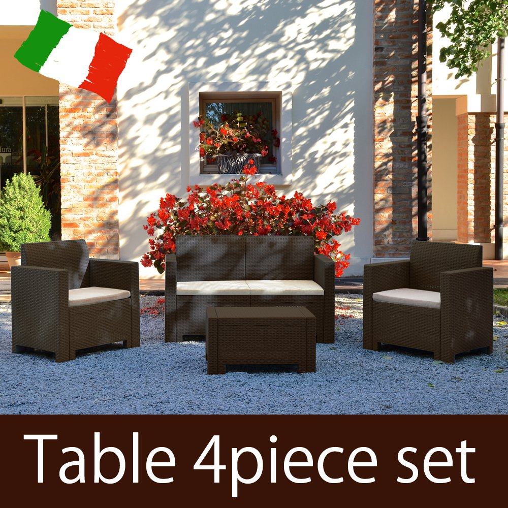 ガーデンテーブルセット ソファ4点セット NEW STAR SET モカ (樹脂 ラタン調 屋外 イス テーブル ガーデン バルコニー イタリア製) B07113VSCH  モカ