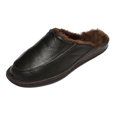 Hollert Herren Lammfell Hausschuhe JAN Pantoffeln braun aus 100% Merino Schaffell Slipper Puschen echtes Leder Lammnappa Mann