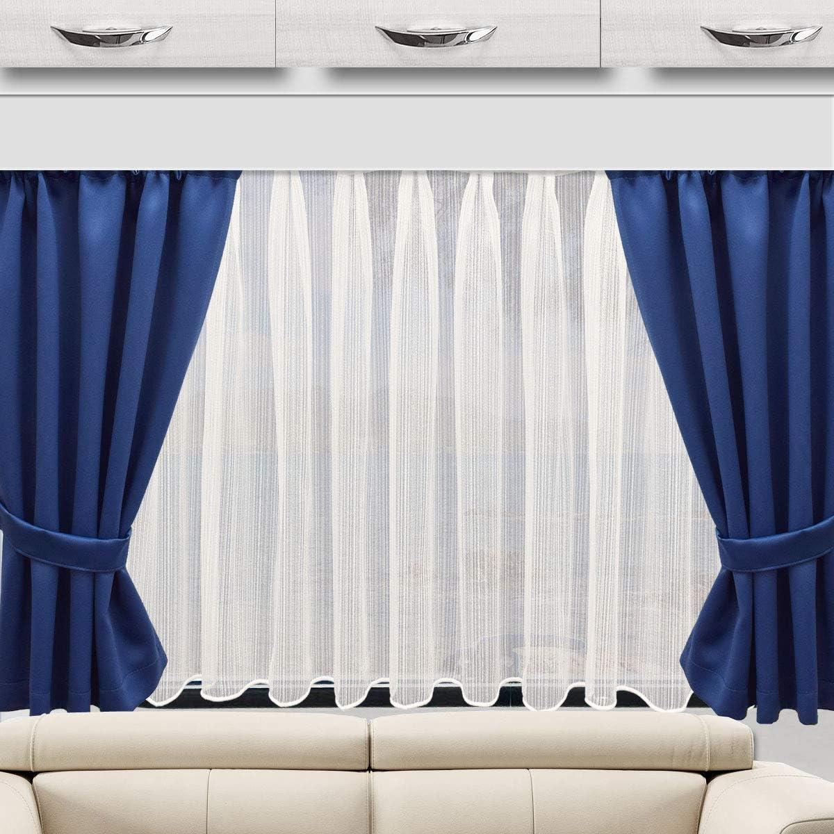 H/öhe /& Breite nach Ma/ß SeGaTeX home fashion Wohnmobil Caravan-Vorhang Mattis blau Verdunklungsdeko Wohnwagengardine mit Reihband