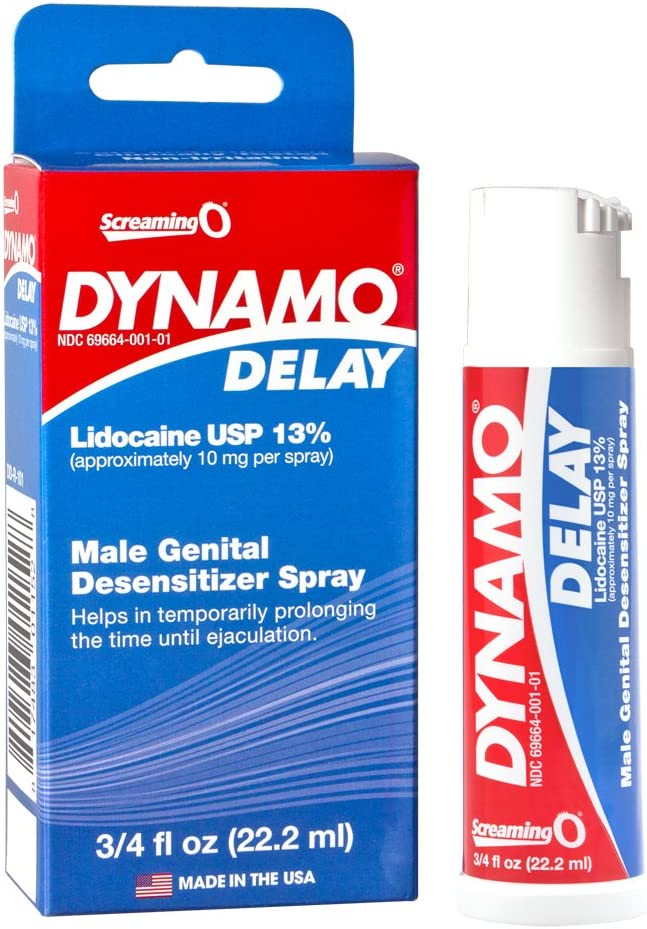 SCREAMING O Dynamo Delay Male Desensitizing Spray with Maximum Strength Lidocaine for Prolonged Intimacy