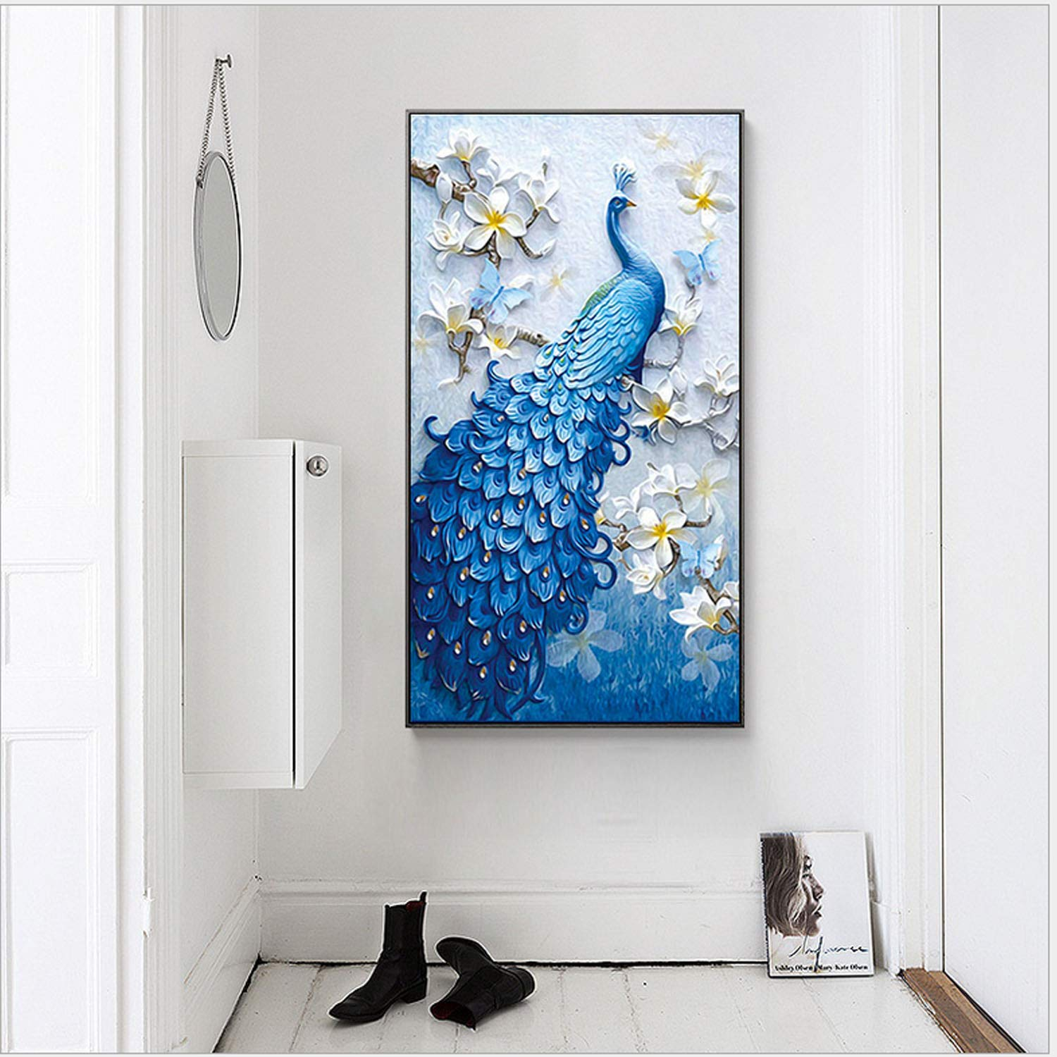 ANMUXI 5D Diamond Painting Kits Full Drill Special-Shaped 40X62CM Peacock DIY Diamond Art for Stress-Relief /& Home Decor