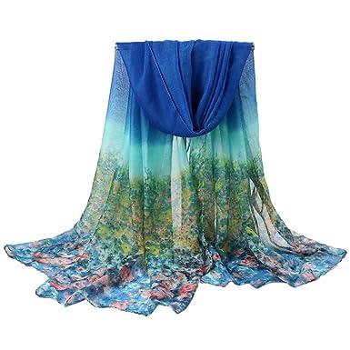 bd50d501e392 YiyiLai Foulard Florale Femme Voile 180 100cm Echarpe Châle Longue Eté  Automne Hiver Mode Bleu