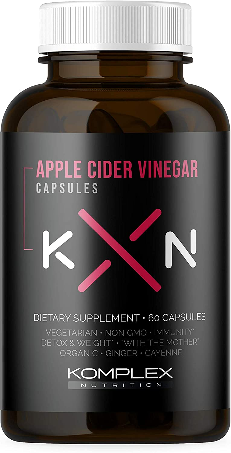 KompleX Nutrition Organic Apple Cider Vinegar Capsules, Improve Digestion and Detox, ACV Powder with Mother, 60 Vegan and Gluten-Free Supplement Pills, Ginger Extract Gingerols, Cayenne Pepper Powder