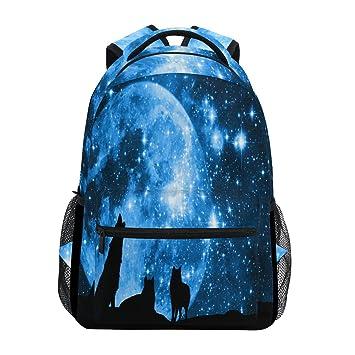 Mochila para portátil Wolf Starry Night, Moon Galaxy Star resistente al agua, para estudiantes