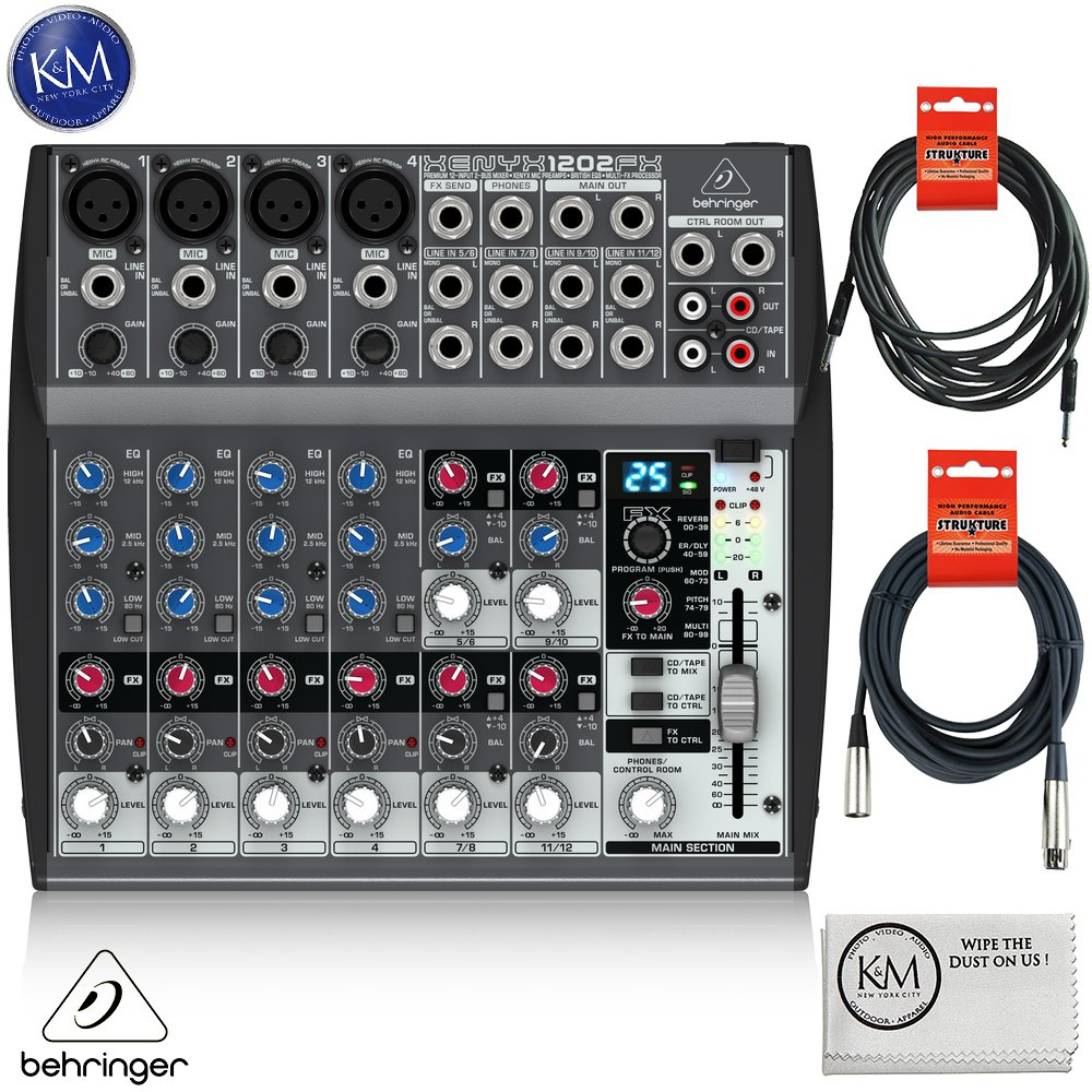 Behringer XENYX 1202FX - 12 Channel Audio Mixer with Effects Processor + 1 x 20ft Structure XLR Cable + 1 x 18.6 ft Strukture Instrument Cable + K&M Micro Fiber Cloth Bundle
