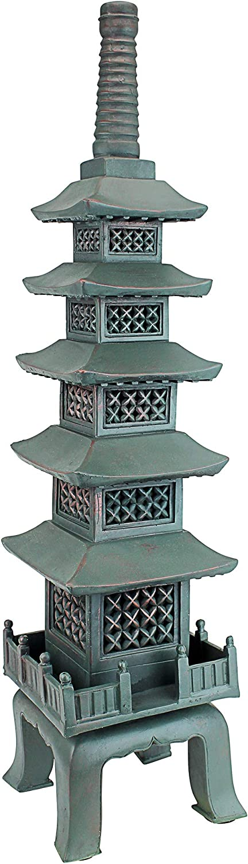 Design Toscano The Nara Temple Pagoda Asian Decor Garden Statue, Large 28 Inch, Polyresin, Verdigris Green Bronze : Japanese Garden Decor : Garden & Outdoor