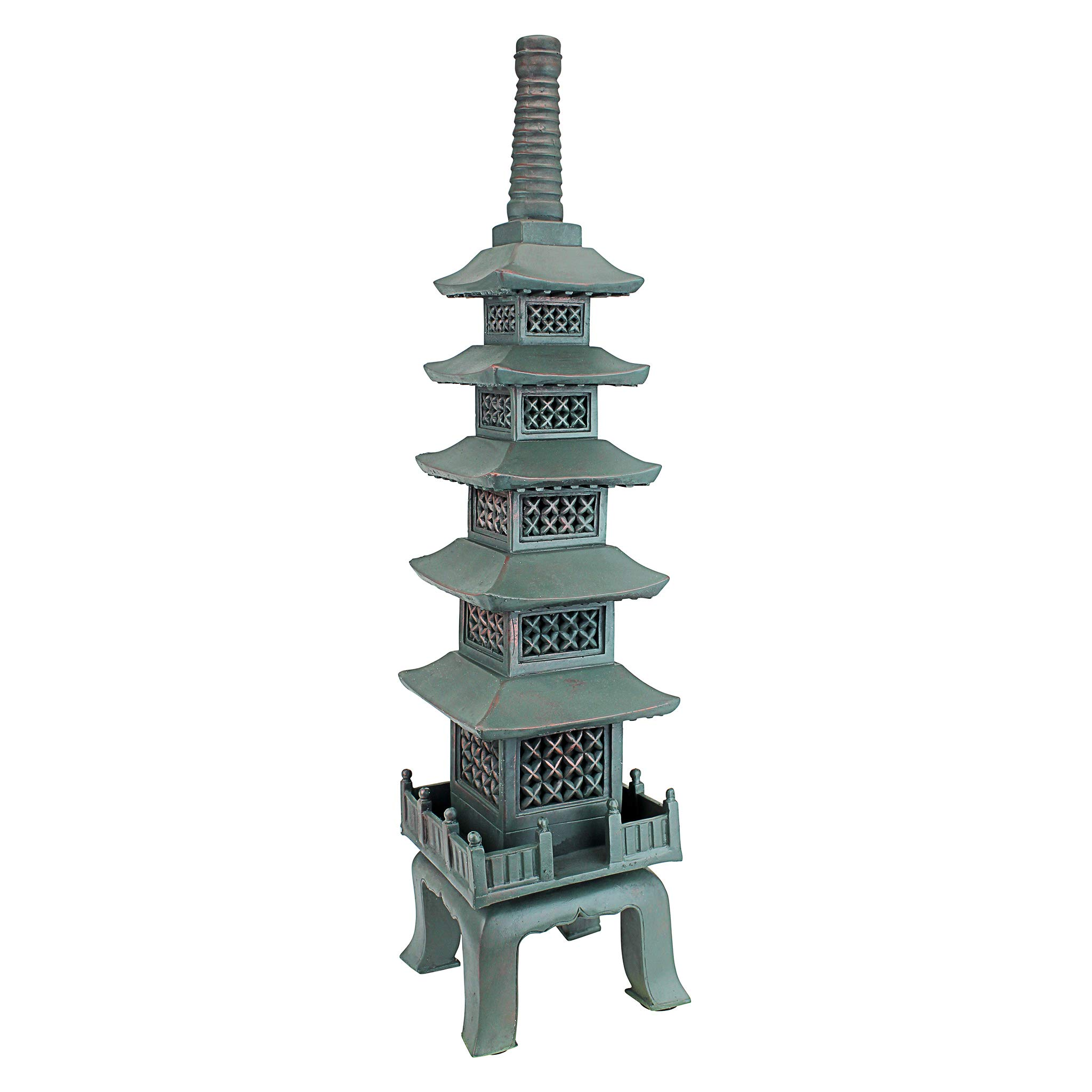 Design Toscano The Nara Temple Pagoda Asian Decor Garden Statue, Large 28 Inch, Polyresin, Verdigris Green Bronze