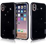 iPhone X ケース iPhoneX ケース,Fyy 極薄 軽量 TPU クリア 透明 キラキラ ソフトケース 防指紋 手触り良い 滑り防止 耐衝撃 携帯便利 保護カバー スリムケース ブラック