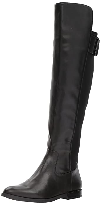 3480d8342bc Calvin Klein Women s Priya Over The Over The Knee Boot Black Leather Stretch  5 Medium