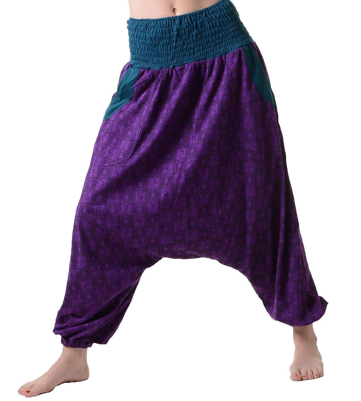 Kunst und Magie Women's Purple/ Petrol Aladdin/ Hippie/ Cotton/ Harem Pants Goa
