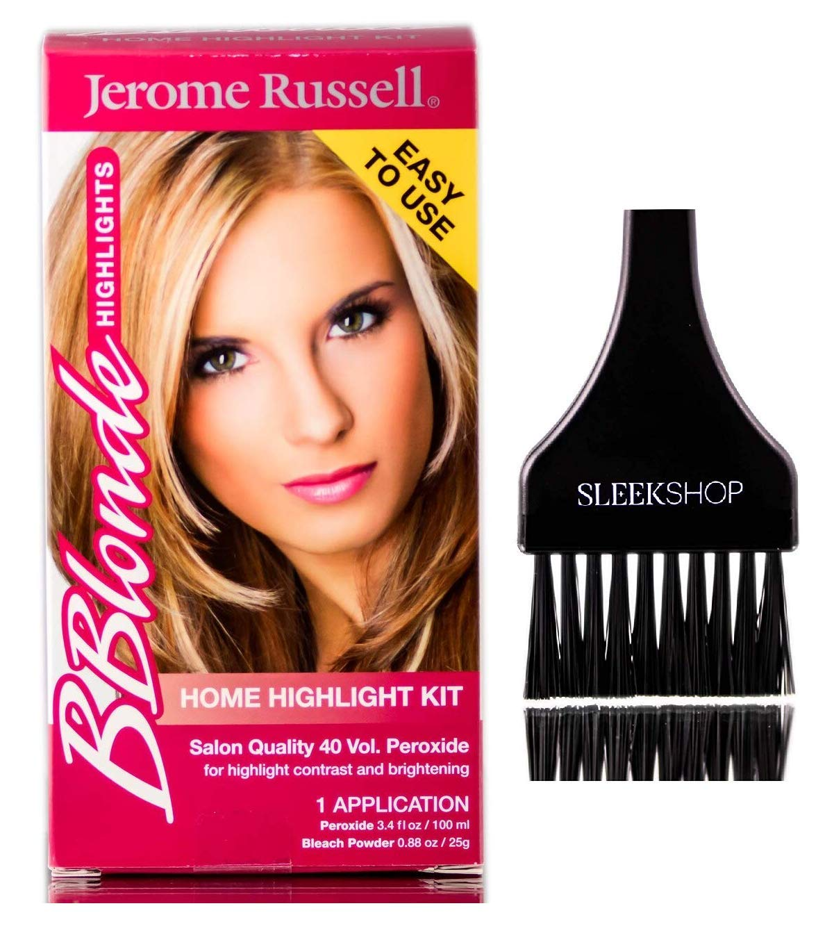 Jerome Russell B BLONDE HIGHLIGHTS Home Highlighting Kit, Be Blonde Salon Quality 40 Volume Peroxide (w/Sleek Brush) Highlight Contrast and Brightening (1 APPLICATION) by Jerome Russell