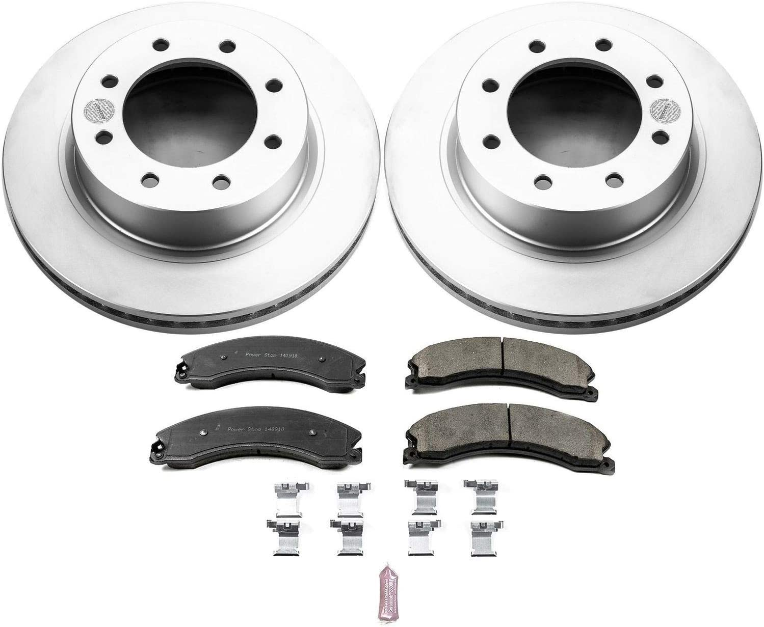Power Stop CRK6816 Coated Rotor and Ceramic Brake Pads-Front