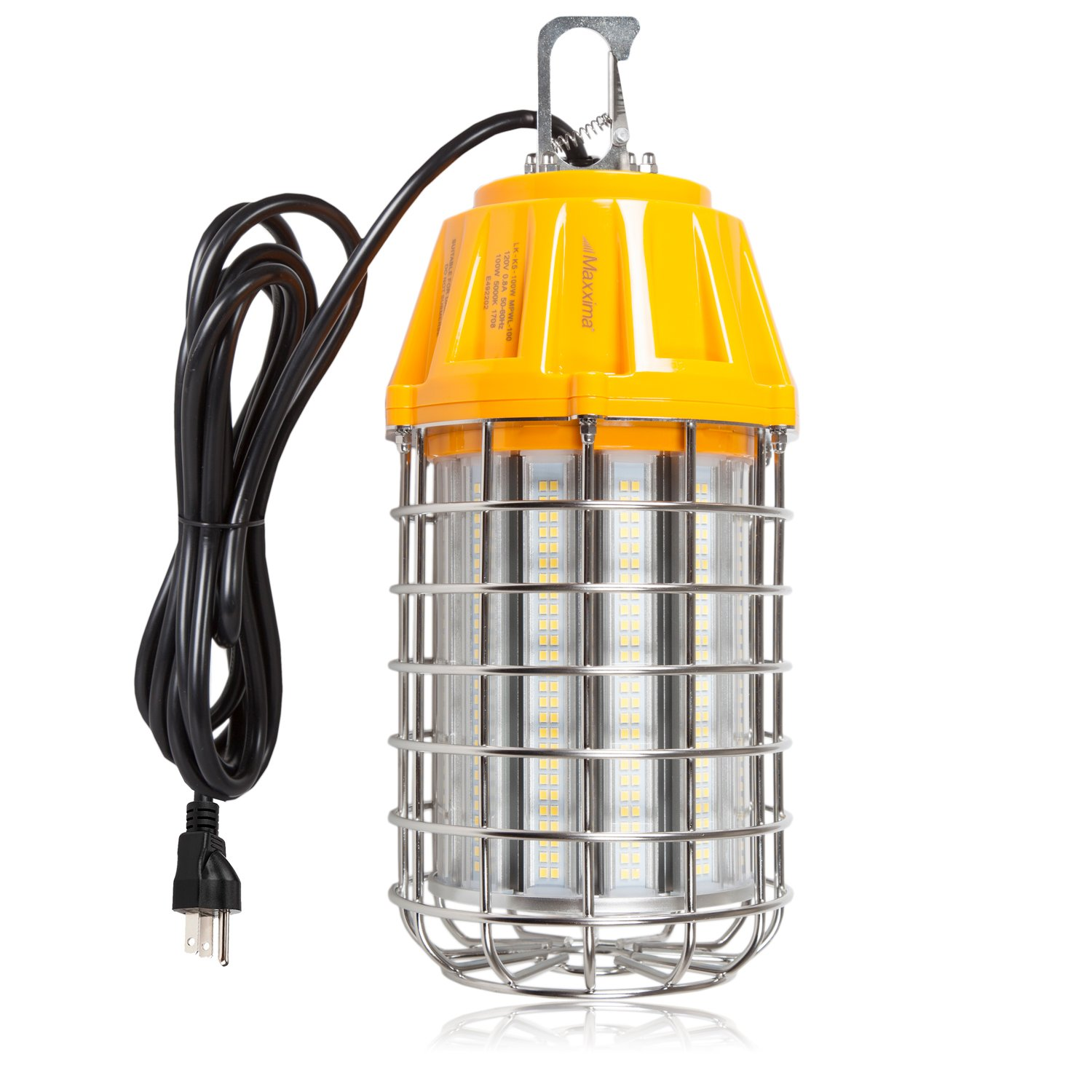 Maxxima High Bay LED Temporary Work Light Fixture, 100 Watt 1200 Lumens Daylight 5000K, Stainless Steel Cage Guard, Plug In