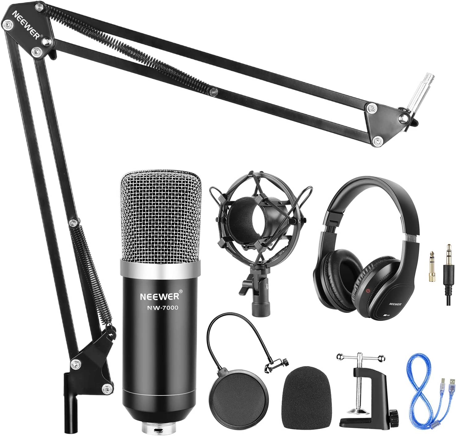 Neewer USB Micr/ófono con Suspensi/ón Cable USB y Kit Abrazadera para Grabaci/ón para Windows y Mac Brazo Tijera Montaje a Prueba de Golpes Filtro Pop Auriculares con Monitor Negro//Plateado