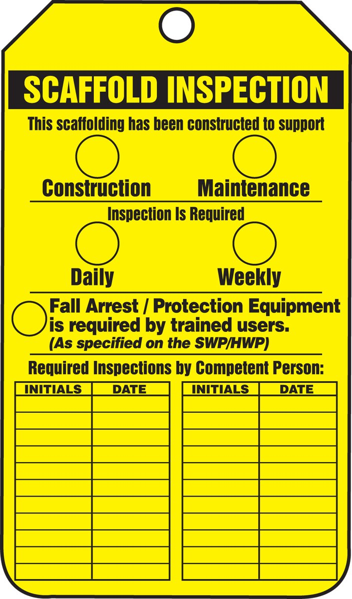 Accuform TRS318PTP Scaffold Status Tag, Legend''Scaffold Inspection (Checklist)/Key Responsibilities'', 5.75'' Length x 3.25'' Width x 0.015'' Thickness, RP-Plastic, Black on Yellow (Pack of 25)