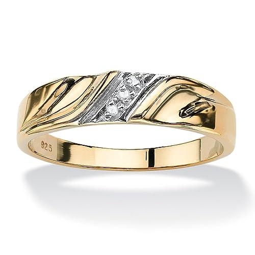 Anillo de boda para hombre - Oro amarillo 18k sobre plata de ley - Detalles de diamantes: Amazon.es: Joyería
