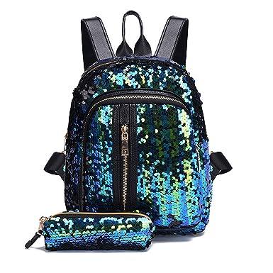 455275b632 DODUMI Sacs Femme Ete 2017,Sacs Shopping Femme,Sacs Femmes Guess,Fashion  Girl Sequins School Bag Sac à Dos Sac à BandoulièRe Voyage + Portefeuille  Clutch: ...