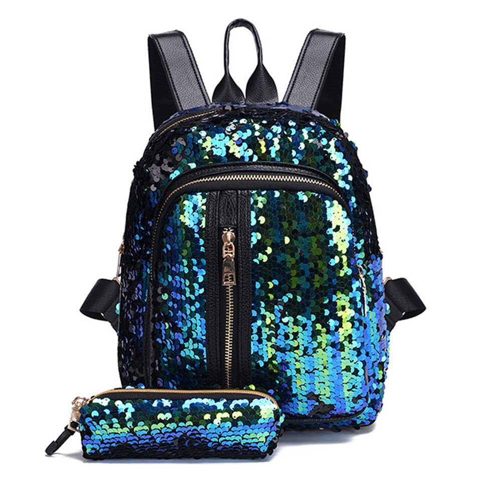 Liraly Women Bags,Big Promotion! 2018 Girl Sequin School Bag Backpack Travel Shoulder Bag+Clutch Wallet (Sky Blue) by Liraly