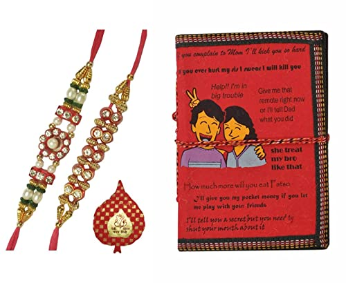 Purpledip Bhai Dooj Rakhi Hamper for Younger Brother: Handmade Journal with  Brother-Sister Quotes, 2 Designer Rakshabandhan Bracelets & Roli Tika ...