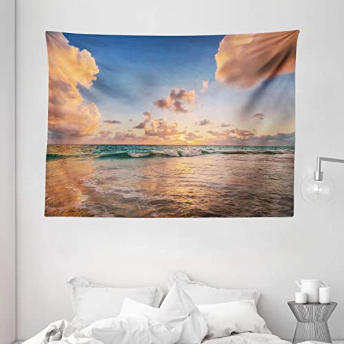 Ambesonne Clouds Tapestry, Sunrise Over Tropical Exotic Caribbean Sea Ocean Landscape Relax Rest Calm Theme, Wide Wall Hanging for Bedroom Living Room Dorm, 80 X 60 , Soft Pink