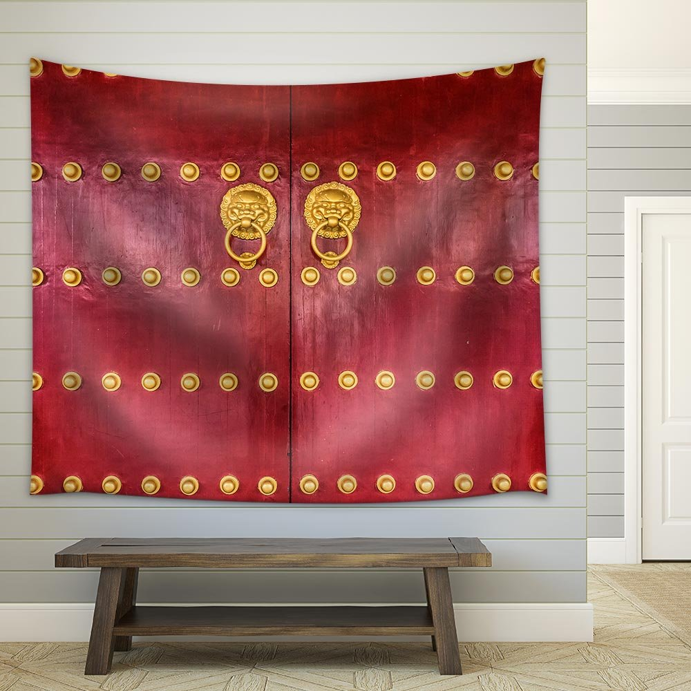 The Art Of Red Chinese Temple Wooden Door Fabric Wall Tapestry