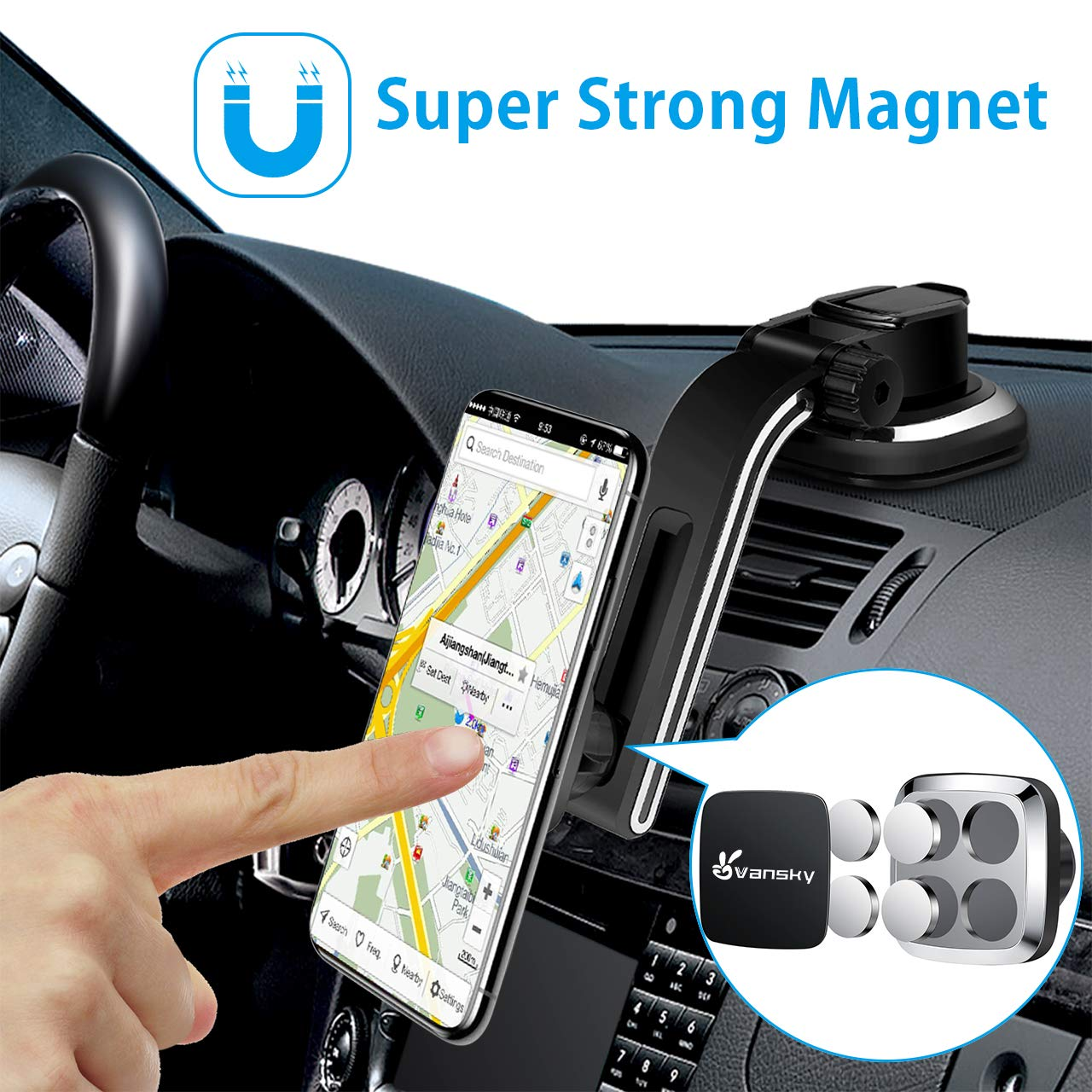 Magnetic Phone Car Mount, Vansky Dashboard Hands Free Phone Holder for Car, Strong Grip Cell Phone Car Mount for Iphone XS Max R X 8 Plus 7 6S Samsung Galaxy S9 S8 Edge S7 S6 Note by Vansky