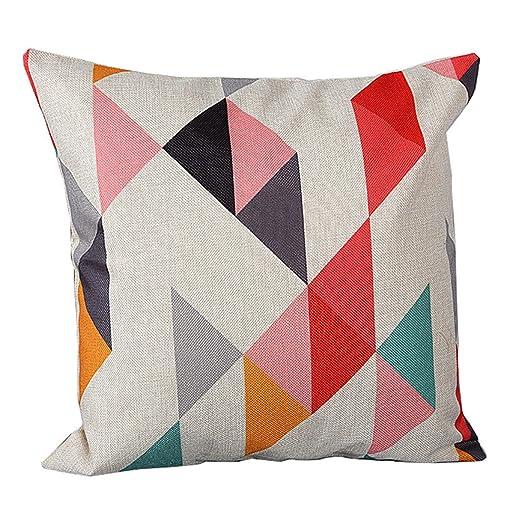 zhouba moda patrón geométrico de lino de cojín manta funda de almohada sofá decoración para el hogar cubierta, Lino, #3, talla única