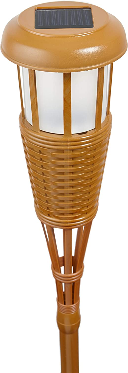 Renewed Waterproof Outdoor Landscape Lighting 2-Pack Newhouse Lighting FLTORCH2 LED Island Torch Solar-Powered Flickering Dancing Flame Effect Bamboo Finish