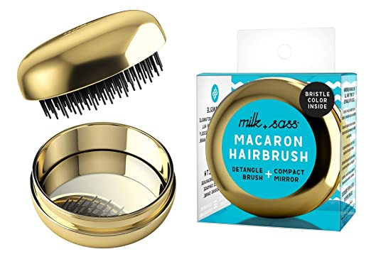 TRAVEL BRUSH ALL-IN-ONE WITH COMPACT MIRROR CASE - Pocket hair brush - Superior Detangler - Women and Kids - Gift Idea - Milk+Sass Macaron for Hair, GOLD
