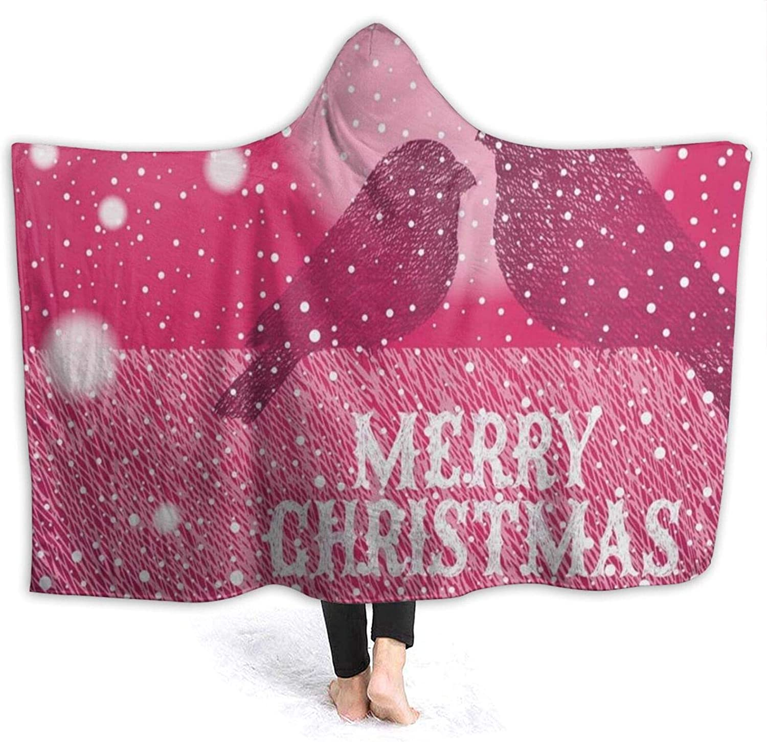 N\ A Hooded Blanket Hot Pink Christmas Snowflake Birds Love Wearable Fleece Blankets Soft Warm for Kid Adults Women Men Throw Cuddle Poncho Cloak Cape Clearance Adults/Womens/Mens Twin