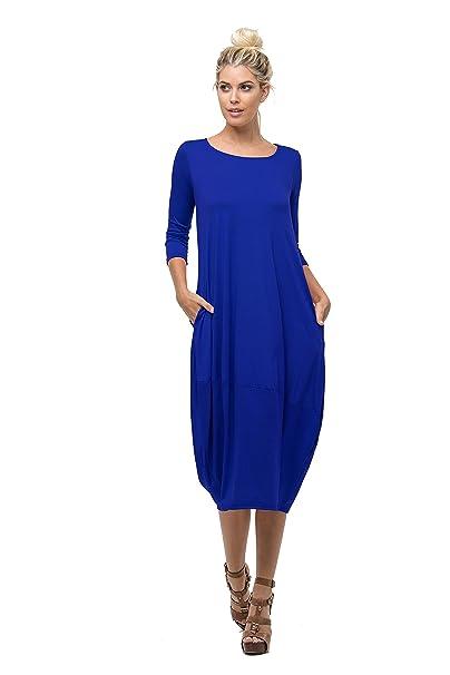 0827ea22 Love In Women's 3/4 Sleeve Round Neck Bubble Hem Long Dress W/Pocket ...