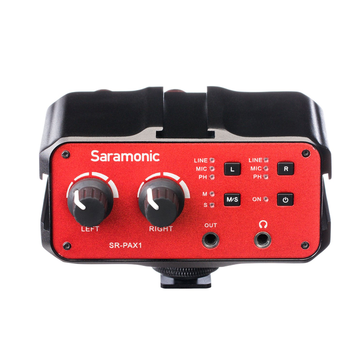 Saramonic SR-PAX1 2-Channel Audio Mixer Preamp Microphone Adapter with Dual XLR/6.3mm/3.5mm Inputs + 3.5mm Output for Guitar Canon Nikon Sony DSLR Cameras Pentax Panasonic Camcorders SR--PAX1